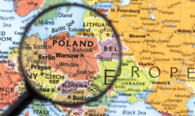Map of Poland. Detail from the World Atlas. Selective Focus.