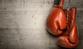 Boxing gloves hanging on concrete wall -including clipping path