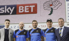 Sky Bet's Mike Holinski with Adam Lyth, Jack Leaning, Gary Ballance and Andy Dawson of Yorkshire County Cricket Club