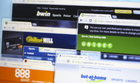 Novi Sad, Serbia - November 13, 2015: Websites (homepages) of leading online betting websites in the world - BWin, William Hill, bet-at-home, 888, Unibet
