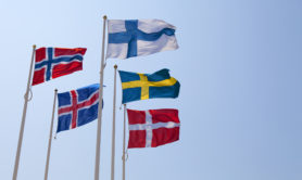 """Flags of the Nordic countries on a windy day. (from left: Norway, Iceland, Finland, Sweden and Denmark)"". Credit: Ramberg/iStock"