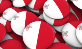 Malta Badges Background - Pile of Maltese Flag Buttons 3D Illustration