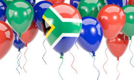 Flag of south africa, with balloons frame isolated on white. 3D illustration