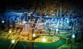 smart city diorama and wireless sensor network, sensor node and connecting line, information communication technology, internet of things, abstract image visual
